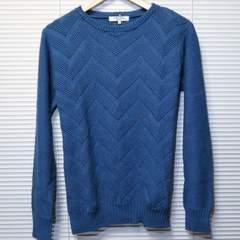 デニムルックジャガード織りコットンニット/BLUE/M