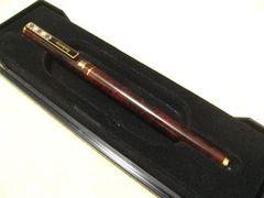 Burberrysバーバリーお洒落英国チェックアクセントの茶斑&ゴールドカラーボールペン
