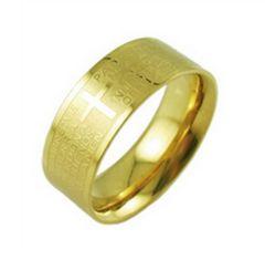 新品 1円〜★送料無料★ 16号 ゴールドリング チタン鋼 十字架聖書 指輪
