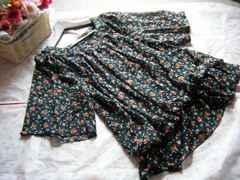 大きいサイズ3L花柄シフォブラウジングブラウス☆ブラック