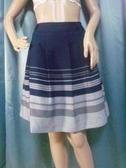 美品紺grayストライプスカートL