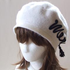 帽子♪merci 刺繍 ウール ベレー帽 ホワイト