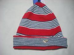 wb668 ROXY ロキシー ニット帽 ビーニー ボーダー 赤