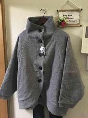 3L☆新品グレー杢スタンドカラードルマンショートコート