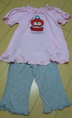 ☆☆美品☆☆アニマル&洗濯&ドット柄飾りリボン付きパジャムSetUp・130