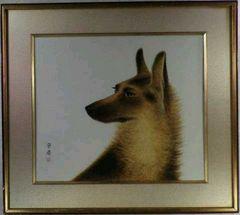 絵画 水彩 作者不詳『犬』真作保証