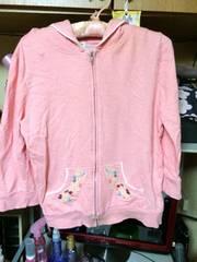 綿ピンク刺繍あり可愛いパーカーサイズM