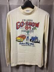 古着ヴィンテージ プリント長袖Tシャツ ロンT  Sサイズ 白色ベージュ アメリカ製 レトロ