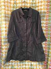 大きい  シャツ  七分袖  長めの丈  茶色 透かし