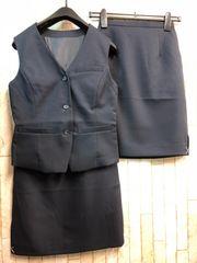新品☆5号お仕事ベストスーツ同スカート2枚付き!紺☆n282