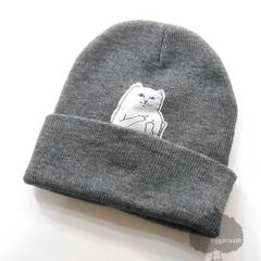 YGG★ FUCKYOU CAT 猫 中指 ニット帽 ワッチ ビーニー グレー