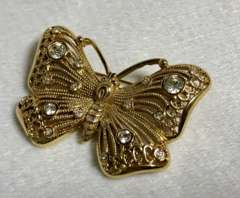 正規新古 廃盤 Diorディオール ヴィンテージ バタフライストーン装飾ブローチ ゴールド