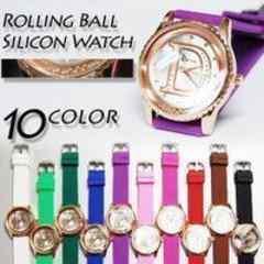 ☆コロコロボールの文字盤Dロゴラメ&ラインストーン腕時計