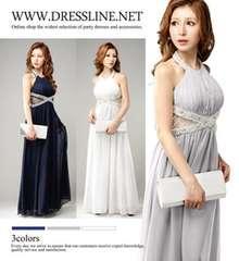 dresslineドレスライン/ネイビーロングドレス/キャバ夜/美品