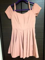 dazzlin ワンピ オフショル 編み上げ ピンク リボン フレア
