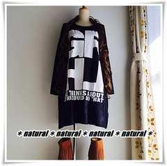 新作★大きいサイズ〜6L RGLHロゴプリBigTシャツワンピ*紺