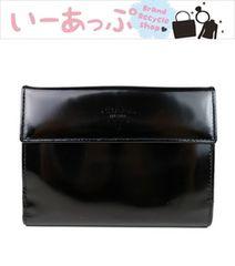 プラダ Wホック二つ折り財布 黒 エナメル PRADA g262