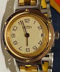 良品エルメスクリッパーレディース時計ゴールドコンビブレス稼働