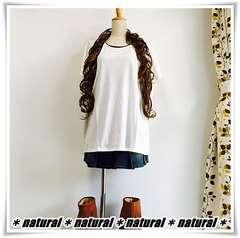 新作★大きいサイズLL 胸レースポケットTシャツ&タンクセット*白×黒