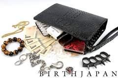 蛇柄 セカンドバッグ クラッチバッグ ツヤなし黒■オラオラ ヤクザ 闇金集金 15016