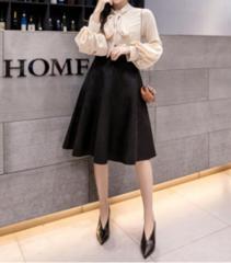 新品【7529】4XL(大きいサイズ)黒スェード調フレアースカート