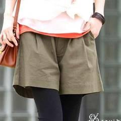 新品◆綿麻リネン◆キュロットパンツ◆カーキLショートパンツ