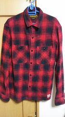 即決応相談09AW  LOGGERネルシャツ  赤黒  Lサイズ  美品
