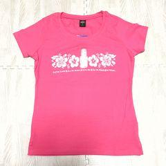 【NEW/タグ付】ハイビスカスモチーフ丸首半袖Tシャツ/S/ピンク