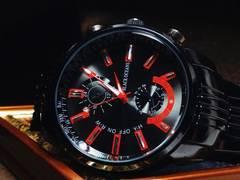 赤ガンメタ★重厚なミリタリ風の腕時計メンズ★BlackOceans