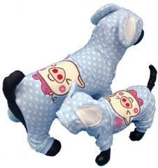 J00)Sサイズ!耳付パイル地つなぎ水色ジャージ犬服ドット水玉