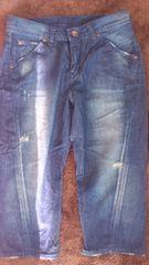 61�p・ブルー系ダメージ デニムハーフパンツ