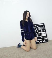 ★人気!!★ベロア風長袖ショートパンツ★上下セット・ブルー