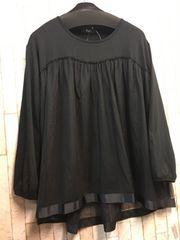 新品☆3L♪黒のチュールキャミ重ね着してるようなチュニック☆n247