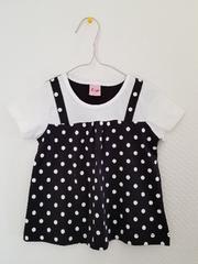 白に黒水玉の半袖Tシャツ95