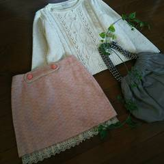 〇MINIMUM MINIMUM〇裾レースリボンツィードスカート*・゜新品