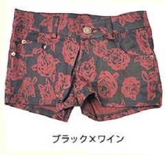 新品♪ROSEショートパンツ☆黒赤ストレッチ◎ポケ有☆大バラ柄ローズ薔薇☆激ッカワ