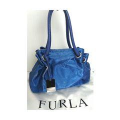 正規 FURLA レザー  ショルダー ハンドバッグ 青 ブルー