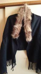 ■冬物ブラウンファー×ブラック裾フリンジニットストール■