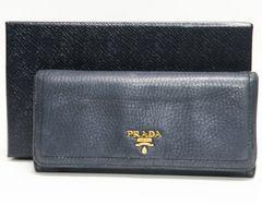 PRADA プラダ 二つ折り長財布 レザー 紺 良品