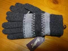 ボルサリーノニット手袋グレー部分皮革