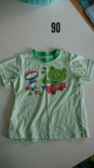 黄緑にカエルの半袖パジャマ�A
