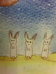 オリジナル自作イラスト/月面のウサギさんたち