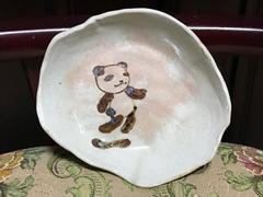 手作りハンドメイド陶器★パンダ★絵皿イラストお皿★一点物