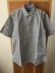 コムデギャルソン オムプラス ストライプ柄半袖シャツ Sサイズ