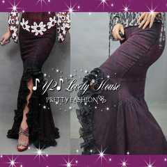 【W88】2L3L*大きいサイズ*マーメイド調フリフリシフォンテールカットデニムスカート*紫