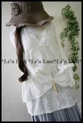新品*袖リボン♪スカラップ刺繍ゆるプルオーバー*大きいサイズ3L