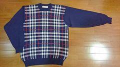 【美品!!】バーバリー紺チェックのセーター