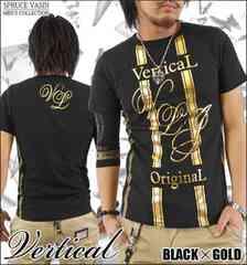 メール便送料無料【VERTICAL】Tシャツ70622新品黒金XL