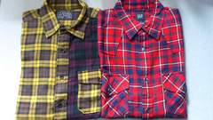 激安86%オフGAP、ユニクロ、ネルシャツ2枚、まとめ売り(美品、�@赤黒�A紫、M)