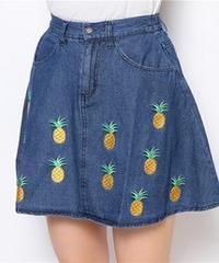 ウィゴー★デニムフルーツ刺繍スカート パイナップル WEGO フレアスカート